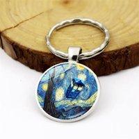 WG 1pc Gogh Starry Sunflower Time Gem&stone Keychain Keychain Pendant Metal Glass Ball Keyring Accessories