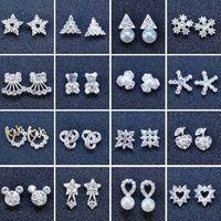 Nueva moda creativa del oído tacos de copo de nieve de moda cerveza cristal diamantes de imitación de perlas Aretes de 48 estilos nuevos pendientes de perlas joyas al por mayor