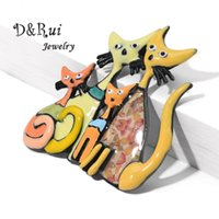 Original Design Cat Brooches Pins for Women Dress Backpacks Fashion Mother Daughter Animal Cats Brooch Pin Christmas Gifts 2020