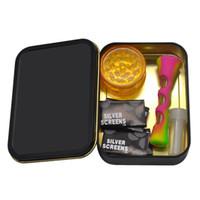 Honeypuff Tubacco Tuback Kit Caixa De Metal Stash com etiqueta padrão + mini moedor de plástico + tubo de silicone com tela de filte de metal + ponta de filtro