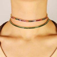 Partido presente baguette do arco-íris verde cúbicos zircônia mulheres charme jóias moldura definindo ténis quadrado minúsculo CZ colar de 30 + 10 centímetros gargantilha