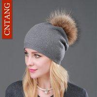 Зимние Женские кашемировые Beanie Hat моды Real помпон Шапочки меховая шапка Женские теплые шапки с натуральным Genuine Raccoon Fur Cap