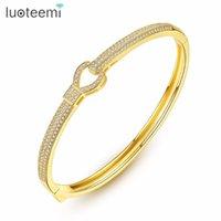 LUOTEEMI Bangles cuivre CZ Keychain Forme en vente chaude charme bijoux à la mode pour les femmes Girl Party Prom anniversaire cadeau femme