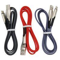 3 pies 1m Aleación de zinc Tipo C-2A Cable de carga rápida Cables de datos cargador micro USB para Samsung V8 S10 LG Huawei teléfono celular