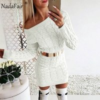 Nadafair Knitted Warm Sweater Dress Women Vestidos Pink Black Bodycon Mini Long Sleeve White Autumn Winter Dress Woman 200922