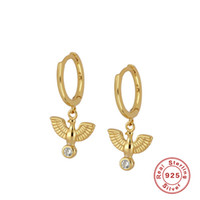 Boako 925 Gümüş Küpe Minimalist Barış Güvercin Hoop Küpeler İçin Kadın Doğum Nişan Pendientes Güzel Takı