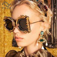 2020 Gafas geométricas irregulares TTLIFE TTLIFE Gafas de sol barrocas Patrón de flores de mujer degradado de marco de gran tamaño UV400 Gafas de fiesta CH01