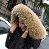 Szaliki 65 cm 75 cm 80 cm Duży rozmiar 100% Naturalne Prawdziwe Szop Futro Kołnierz Kobiety Szalik Płaszcz Zimowy Neck Cap Długi Ciepły Oryginalne Sarf