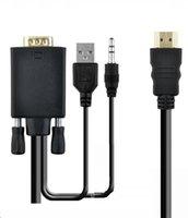 50pcd 1.8 M و 6ft HDMI إلى كابل VGA عالية الجودة HDMI VGA الذكور مع 3.5mm ستيريو الصوت والناقل التسلسلي العام محول الطاقة