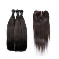Индийские пакеты волос с закрытием шелковистые прямые человеческие волосы человеческими волосами.