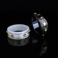 زوجين الدائري الأزياء خطاب بسيط خاتم أفضل بيع عالية الجودة الخزف مادة الدائري الأزياء والمجوهرات العرض