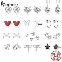 bamoer Authentic 925 Sterlingsilber-Halbkreis-Bolzen-Ohrringe für Frauen und Männer edlen Schmuck Bijoux Minmalistic Einfache Ohrstecker