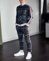 Mens Tracksuits 2020 New Autumn Men Casual Plaid Print Two- p...