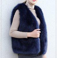새로운 겨울 여성 가짜 여우 모피 밍크 모피 코트의 고급 외투 한국어 V - 목 두꺼운 여성 봉제 열기 스티치 조끼를 따뜻하게