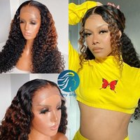 Ombre 1b mel loira 13x6 nós branqueados de 30 polegadas longos cabelo humano lace dianteira perucas pré arrancadas 250% full afro kinky curly cabelo humano perucas