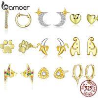 BAMOER reales Gold Farbe Silber Ohrstecker für Frauen 925 Sterlingsilber Schmuck Knoten Ohr-Stifte Weiblichen Earing 2020