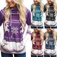 Noel Elk kar tanesi Baskılı Kadınlar Kapşonlu Kapüşonlular Tasarımcılar Triko Kazak tişört Cep Spor Sonbahar Tişörtü Giyim D9305 ile