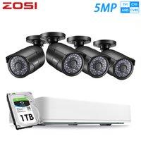 Sistemler ZOSI 4CH HD 5MP AHD Analog TVI Açık Kapalı Güvenlik Kamera Sistemi ile CCTV Video Gözetim 1 TB HDD DVR Kiti