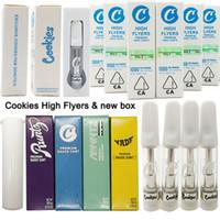 Cookies High Flyers Vape cartucce 0.8ml 1 ml Svuotare ceramica Vape Pen 510 Olio Premium salsa Serbatoi Carrelli di vetro Imballaggio Box vaporizzatore Ecigs