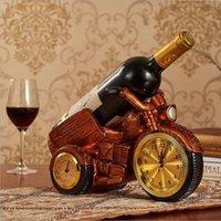 Retro Nowy Motocykl Wina Szkło Uchwyt Resin Wino Uchwyt do gotowania Uchwyt butelki wina z zegarek i termometr Romantyczny obiad rzemiosło