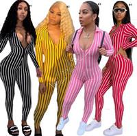 Art und Weise Striped Overall-Hosen-Spielanzug für Frauen Langarm-Pullover Legging Playsuit Catsuits beiläufige Damen Onesies Bodys D9806 SALE