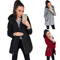 후드와 2020 여성의 유행 재킷 포켓 자켓 간단한 단색 긴 소매 플러스 사이즈 XS-5XL 여성으로 만들어진 자켓 가을 우편 번호