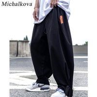 Con cordón pantalones ropa de gran tamaño de los hombres pantalones de Haren de punk hip hop Harajuku oscuro elástico de la cintura corredores streetwear Michalkova