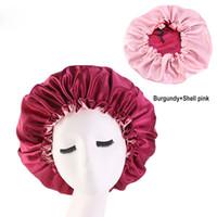 الحرير كبير النوم كاب الحرير بونيه لجميل الشعر مزدوجة الحجم ملابس إضافية كبيرة قبعة مستديرة حماية الشعر 7 ألوان
