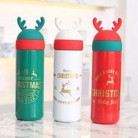 الأمازون الساخن بيع 10oz سعرنا 11OZ زجاجة عيد الميلاد الأيل قرن الوعل هدية زجاجة مياه الترويجية عيد الميلاد عيد الميلاد مزدوجة الجدار فراغ المياه