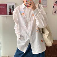 Weibliche koreanische Harajuku-College-Art Karikatur-Druck-loses Shirt Frauen-Shirts Ulzzang japanische Kawaii Vintage-Kleidung für Frauen