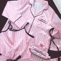 JRMISSLI pigiama donne 7 pezzi pigiama rosa set raso pigiama da notte di seta sexy della biancheria di usura Home Imposta pijama donna 200919