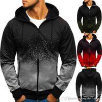 Long Sleeve Hooded Teenager Sweatshirts With Zipper Fashion Slim Mens Hoodie Gradient 3D Mens Cardigan Hoodies Autumn