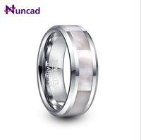 Anéis de casamento Nuncad 8mm largo tungstênio tungstênio anel de aço homens de aço inlay branco mãe-de-pérola T232R