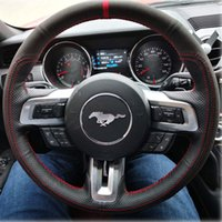 Black Genuine Leather Auto Custom Steering Wheel Cover for Ford Mustang 2015-2017 Mustang GT 2015-2017 Accessories