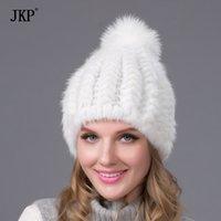 Beanie / Capas de cráneo JKP Rusia Real Natural Gorra de piel Pom Top Hat Hat Beorías