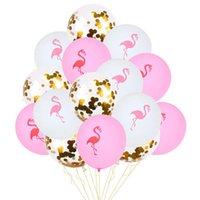 15pcs de 12 polegadas Flamingo abacaxi folha de látex balão Confetti Balões para Hawaii tropical do casamento de aniversário Decoração do partido