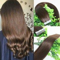 En la cinta de extensiones del cabello humano Medium Brown # 4 40pcs 100gram la cinta de Remy extensiones del pelo de la piel del pelo de la trama del extremo grueso de alta calidad