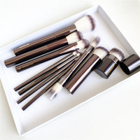Kum Saati Makyaj Fırçalar Seti-10-ADET Pudra Allık Göz Farı Kırışıklık Kapatıcı Eyeliner Smudger Dark-Bronz Metal Kolu Kozmetik Araçları