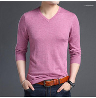 Sleeve Casual T Shirt Solid Color V Neck Mens Knitted T Shir...