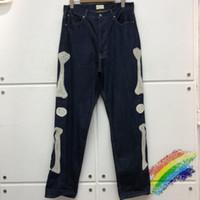 Новый Прибывший вышивка джинсы Мужчины Женщины высокого качества джинсовой Брюки Cargo