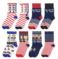 Trump Presidente strocking MAGA Trump letras de los deportes calcetines de rayas de la bandera americana informal Calcetines personalizada de tacón alto del calcetín de algodón LSK1119