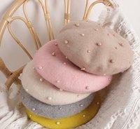 Girls Laine Béret Enfants Perles peintre Hat Automne Hiver Girls Princesse Accessoires Fashion Kids Bonnet de laine A4373
