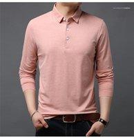 Lässige Kleidung Revers Herren T-Shirts Baumwollbeiläufiges Langarm-T-Shirts Normallack der Herbst-Männer Designer Sweatshirts