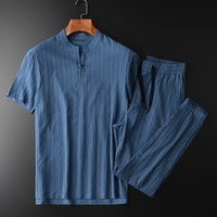 Minglu Summer Mens Sets (t-shirt+pants) Luxury Chinese Style Short Sleeve Man Sets Plus Size 4xl Solid Color Slim Fit Male