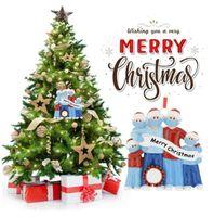 PVC 2020 الحجر زخرفة عيد الميلاد 4 أنماط PVC عائلة من 3 4 5 6 شجرة عيد الميلاد الشنق قلادة زينة عيد الميلاد CCA12539 200PCS