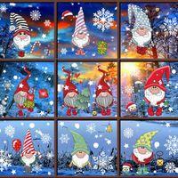 Merry Christmas adesivi murali Decorazioni di Natale Babbo Elk Glass Window Stickers casa 2020 Natale Ornamenti di Natale Capodanno 2021 VT1723
