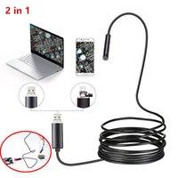 7mm Endoskop Kamera 2 1 Mikro USB Mini Kameralar Esnek IP67 su geçirmez 6 LED Borescope Gözlem Kamerası Android Loptop içinde