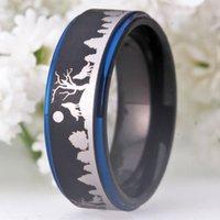 숲 밴드에 새겨진 늑대와 결혼 반지 남자 8mm 검은 텅스텐 반지 약혼 오딘 기호 남성 손가락 쥬얼리