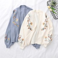 Spring Lantern Sleeve Flower Embroidery Knitting Sweater Car...