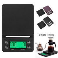 3kg و5KG / 0.1G LCD الرقمية الوزن القهوة الميزان المحمولة ميني موازين الكترونية الموقت المطبخ آلة الغذاء مقياس الأسود براون